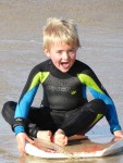 Duncan sat in the surf